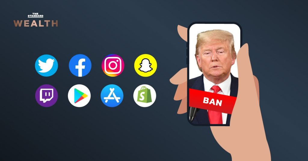โดนัลด์ ทรัมป์ ตำแหน่งประธานาธิบดีโดนแบนบัญชีผู้ใช้งานจาก Social Media